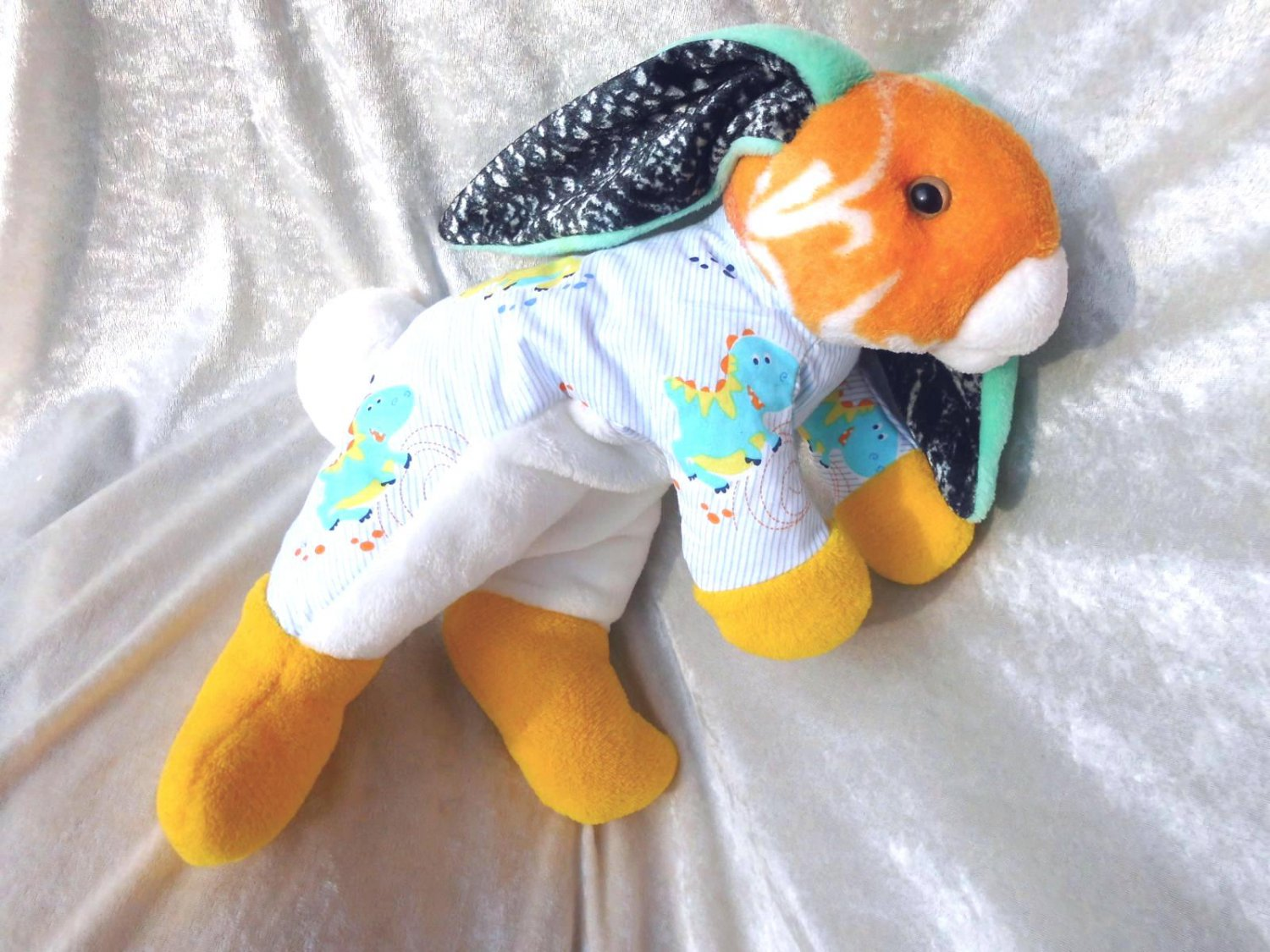 DINOSAUR BUNNY LOP soft toy floppy rabbit yellow white with Dinos for boys nursery decor handmade