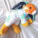 DINOSAUR BUNNY LOP soft toy floppy rabbit yellow white with Dinos for boys nursery decor handmade