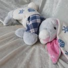 GRANDPA BUNNY SAILOR blue gray rabbit with checkered shirt HANDMADE unique Grand Dad Gift