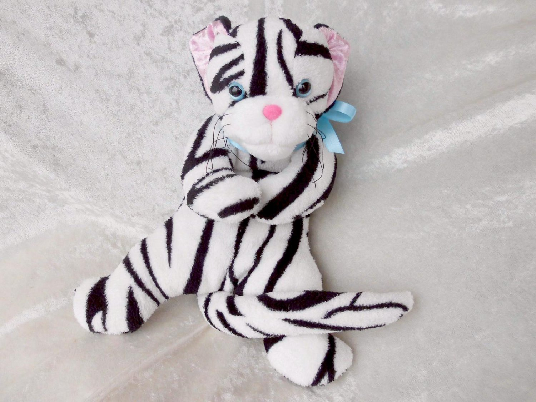 WHITE Snow TIGER plush tabby cat white zebra kitten soft toy HANDMADE floppy wild animal stuffed