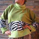 TALL Women ZEBRA SWEATER Green Unique HANDMADE Plus Size xxl 2xl extra long Sleeves Fleece Pullover