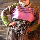 TALL Women GIRAFFE SWEATER Green Unique HANDMADE Plus Size xxl 2xl extra long Sleeves Pullover
