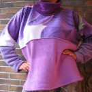 TALL Women SWEATER PURPLE Unique HANDMADE Plus Size Fleece Pullover xxl 2xl extra long Sleeves