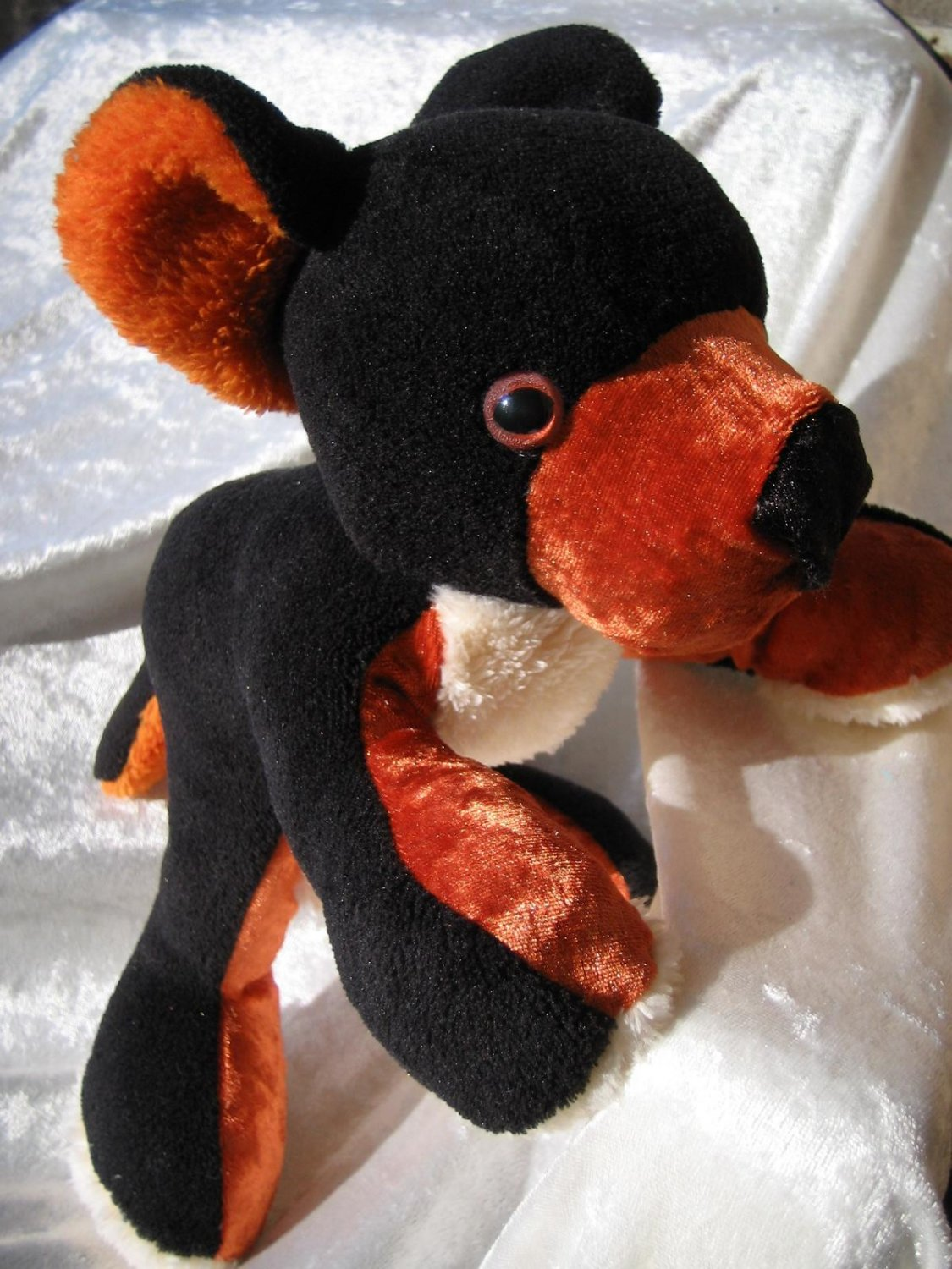 BLACK AND TAN Teddy Bear Bernese Mountain Dog Bear soft toy black tan handmade black bear plush