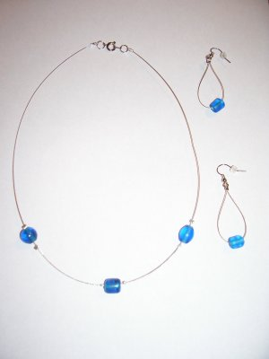 Blue Beaded Necklace-Earring Set