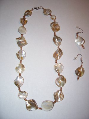 Gold Rock Necklace-Earring Set