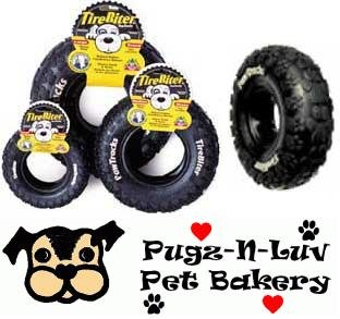 "Tirebiter Pawtracks MEDIUM 8"" Rubber Tire Dog Chew Toy Dental"