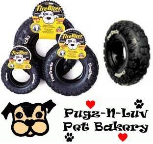 "Tirebiter Pawtracks LARGE 10"" Rubber Tire Dog Chew Toy Dental"