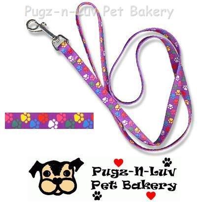 "Pet Attire Fashion Dog Lead/Leash Colored Paws 1"" x 6' Nylon"