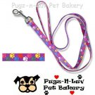 "Pet Attire Fashion Dog Lead/Leash Colored Paws 1"" x 6' Nylon"