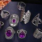 9 PCS/SET Vintage Big Purple Crystal Crown Star Rings