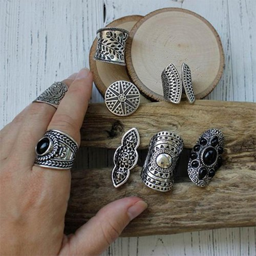 New Bohemia Vintage Boho Jewelry Rings Mixed Lot Tibetan Silver Plated Ring 8pcs/Lot