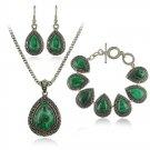 Fashion green malachite stone jewelry sets charm bracelet pendant necklace earrings