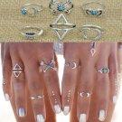 Vintage Punk Boho Unique Carving Tibetan Silver Plated knuckle Joint Ring Set 6PCS/Set