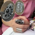 New Vintage Tibetan Silver Plated Unique Carving Metal Ring and Black Faux Stone Ring Set 2pcs/Set