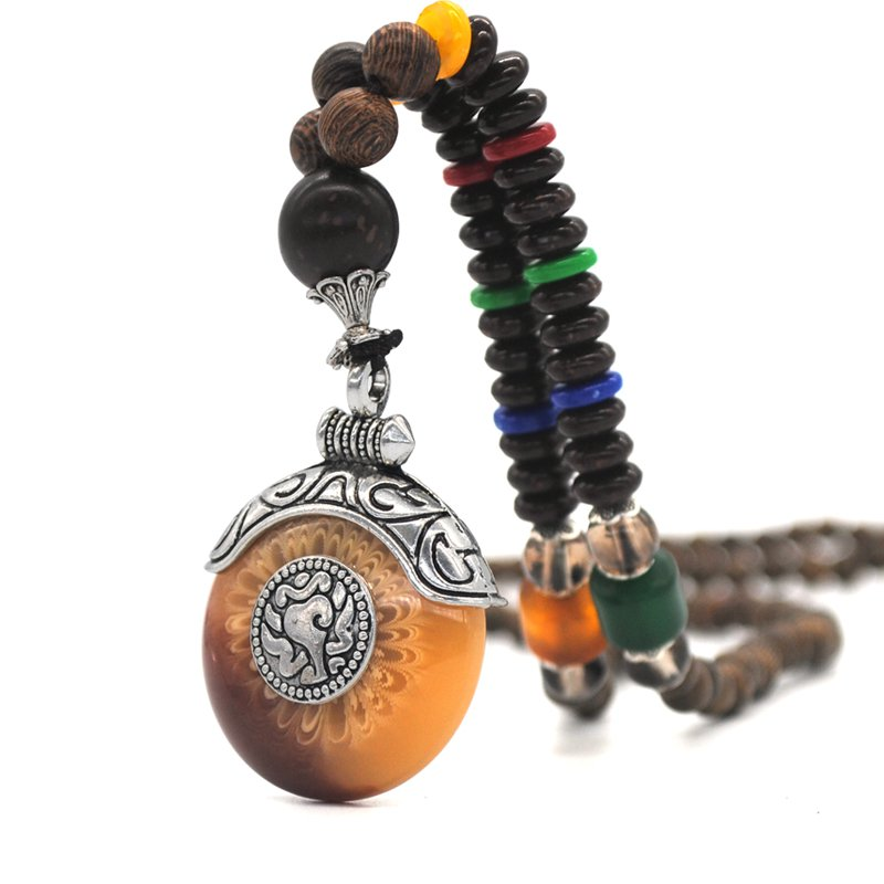 New Ethnic Tibetan Silver Pendant Necklace Handmade Nepal Wood Beaded Necklace Gifts Jewelry