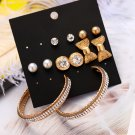 6 Pairs/set Brincos Round Crystal Stud Earrings
