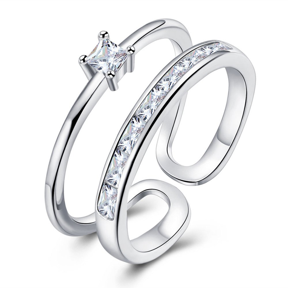 Lovely Ladies 2 Layers Ring Silver Plated Open Rings For Women With Top Quality Cubic Zirconia Stone