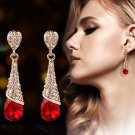 Water Drop Red Crystal Stud Earrings