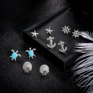 5 Pairs/Set Starfish Shell Crystal Anchor Turtle Stud Earrings for Women