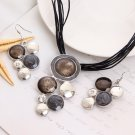 Geometry Circle Pendant Necklace Earring Sets