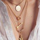 4 layer arrow design necklace pendant charm gold choker