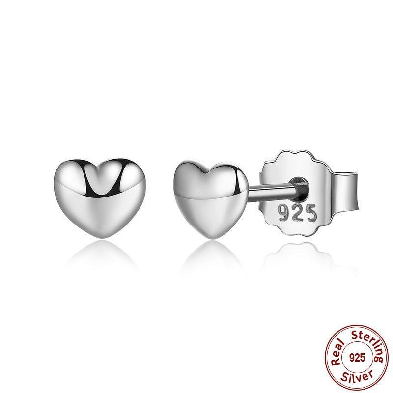100% 925 Sterling Silver Petite Plain Hearts Stud Earrings for Women Silver Small Earrings