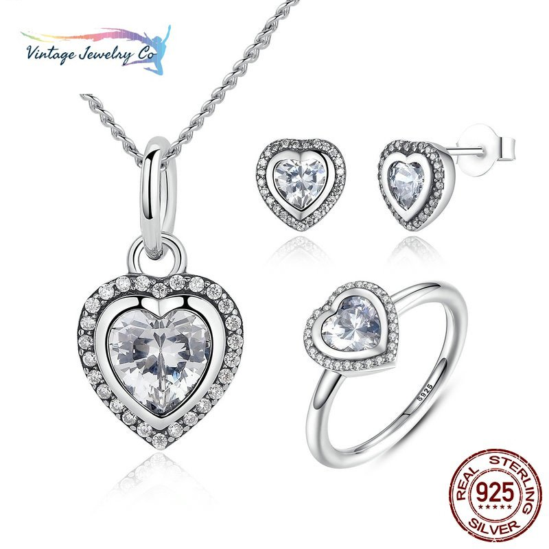 925 Sterling Silver Jewelry Set Sparkling Love Heart Jewelry Sets