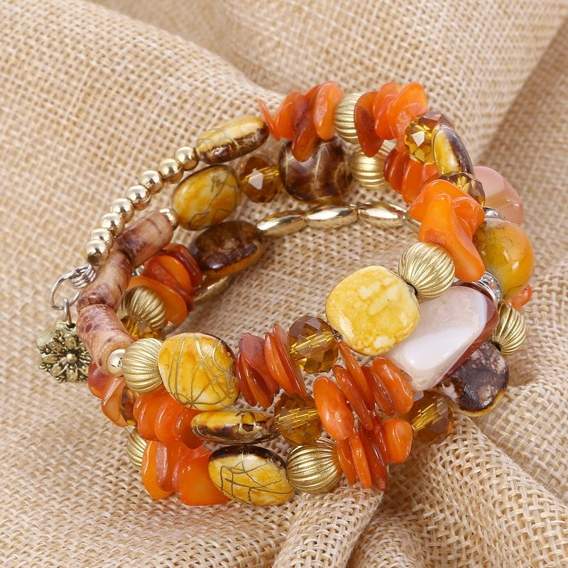 Woman Boho Multilayer Beads Charm Bracelets