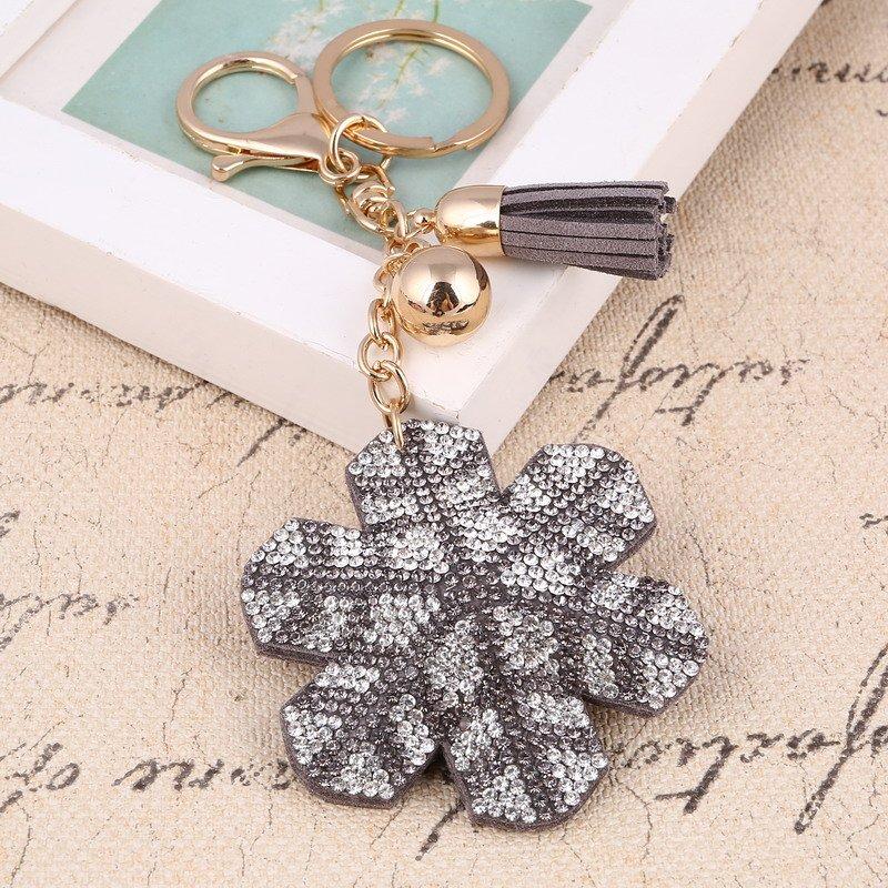 New Fashion Women Casual Pu Leather Tassel Snow Flower Key chain
