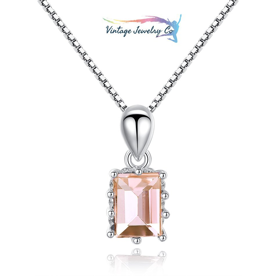Square Cubic Zirconia Champagne Necklaces 925 Sterling Silver