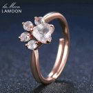 LAMOON Bear's  Natural Pink Rose Quartz Adjustable Ring 925-Sterling-Silver Fine Jewelry for Women