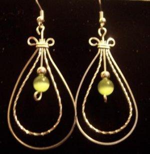 Double Loop Earrings with Peridot Cats eye Beads