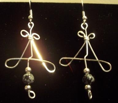 Sterling Silver Earrings with Snowflake Obsidian Beads