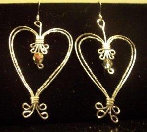 Double Heart Sterling Silver Earrings