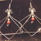 Sterling Silver and Red Jasper Double Shaped Earrings