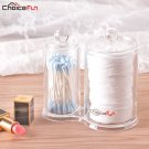 CHOICEFUN Clear Plastic Cosmetic Makeup Acrylic Storage Box Round Q-tip Cotton