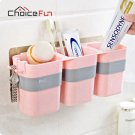 CHOICE FUN 3 Cups Multifunctional Family Pink Wall Mounted Plastic Toothpaste