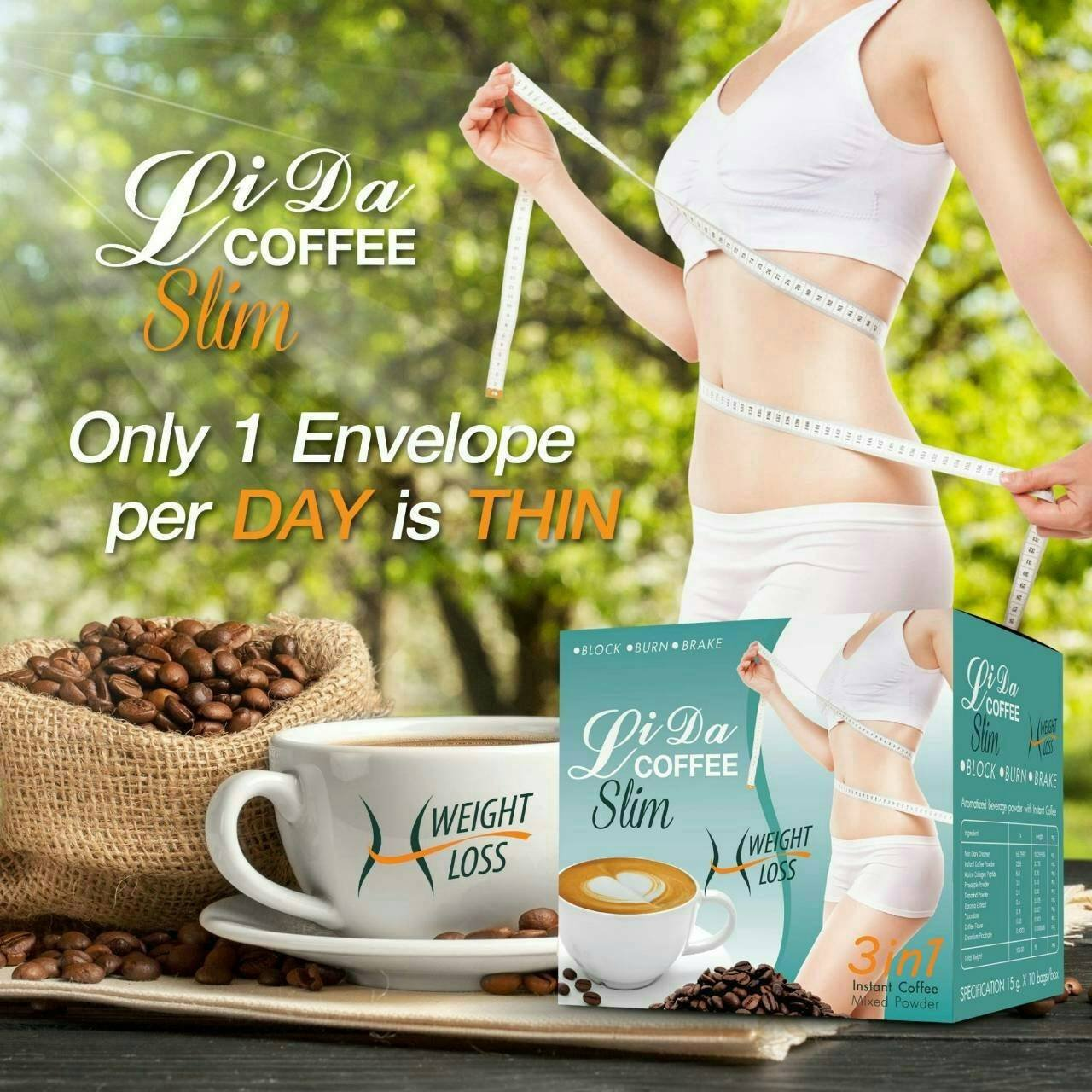 10X Lida Coffee 3 in1 Slim weight Loss firming Supplement Products 10 Sachets