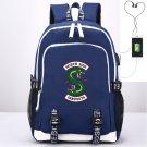 Riverdale Backpack Southside Serpants for Gym School Bag USB Charging Laptop iPad Backpack Blue