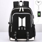 BTS Kpop School Backpacks Black Canvas iPad Bag USB Charging