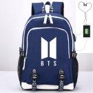 BTS Kpop School Backpacks USB Charging Canvas iPad Bag Blue