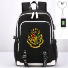 Kids Harry Potter School Backpack USB Charging Canvas iPad Bag Black