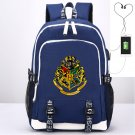 Kids Harry Potter School Backpack USB Charge Oxford Canvas Backpack Blue