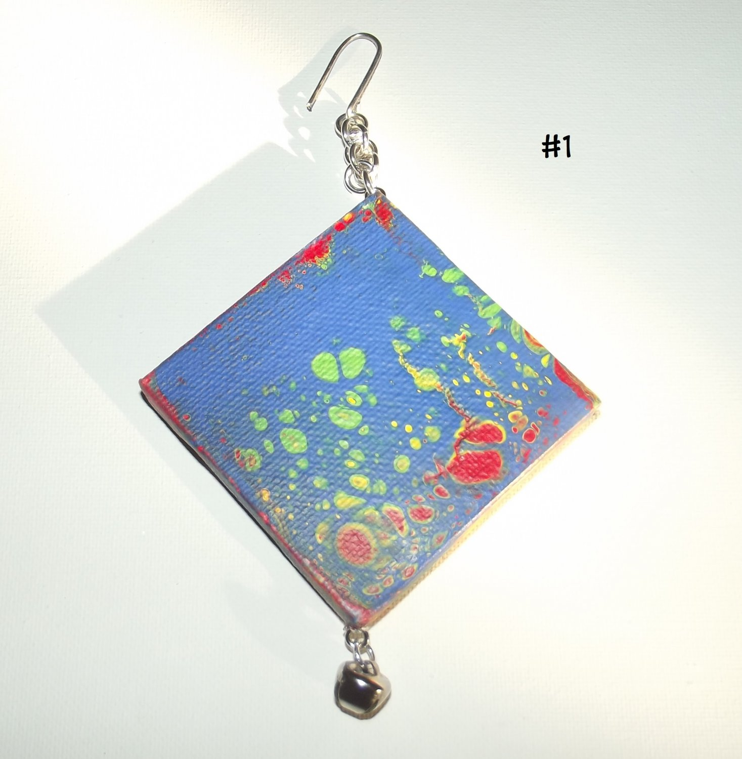 "2.75"" x 2.75"" Canvas Fluid Art Ornament - Choose between the (8)"