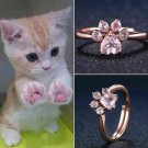 Paw Print Rose Gold Ring Cute Pet Puppy Dog Kitten Cat Lover Pawrent Opening Adjustable Jewelry