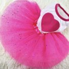 Hot Pink Heart Tutu Skirt Pet Dress XS-L Puppy Dog Cat Lace Princess Valentine's Day Clothes