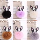 Boston Terrier French Bulldog Keychain Pet Puppy Dog Artificial Rabbit Fur Furry Ball Key Chain