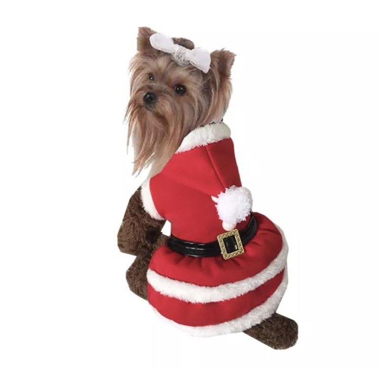 Mrs. Claus Hooded Pet Dress XS-XL Outfit Costume Puppy Dog Santa Christmas Xmas Holiday Clothes