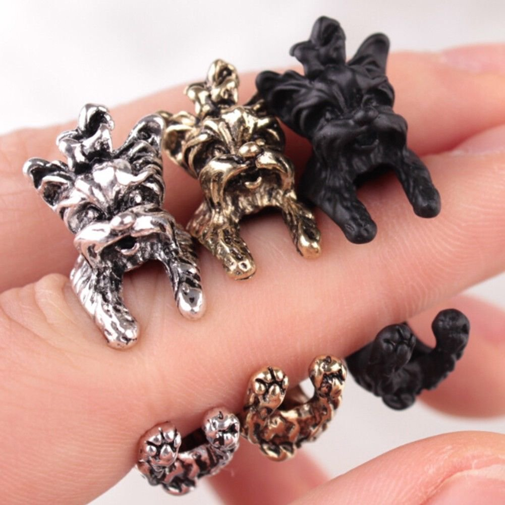 Retro Dog Fashion Ring Pet Antique Vintage Yorkie Animal Gift Puppy Wrap Adjustable